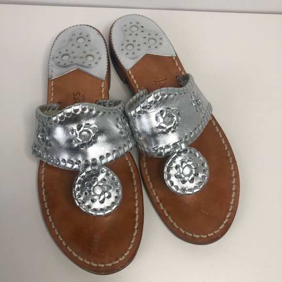 Jack Rogers Shoes - Jack Rogers Hamptons Silver Sandals SZ 6